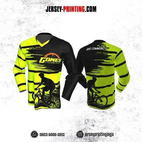 Jersey Gowes Sepeda Hijau Hitam Strip Lengan Panjang