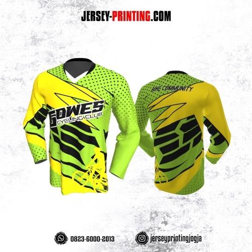 Jersey Gowes Sepeda Hijau Kuning Hitam Garis Lengan Panjang