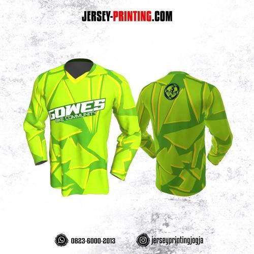 Jersey Gowes Sepeda Hijau Kuning Segitiga Lengan Panjang