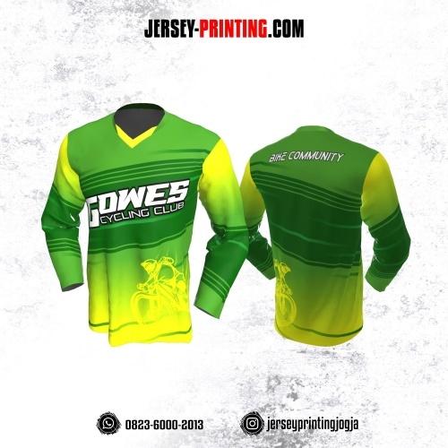 Jersey Gowes Sepeda Hijau Kuning Strip Lengan Panjang