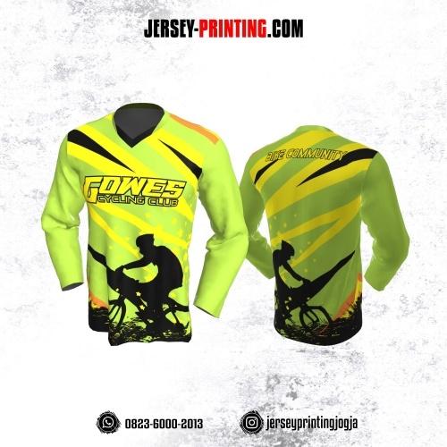 Jersey Gowes Sepeda Hijau Kuning Zigzag Lengan Panjang