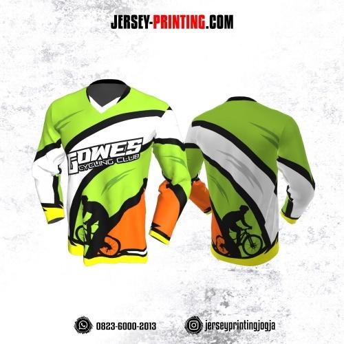 Jersey Gowes Sepeda Hijau Orange Hitam Putih  Lengan Panjang