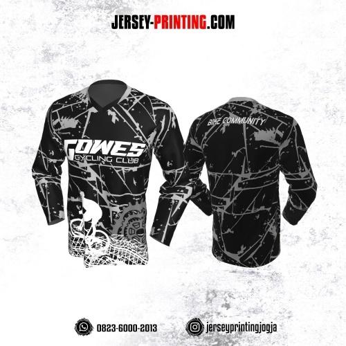 Jersey Gowes Sepeda Hitam Abu Abstrak Lengan Panjang