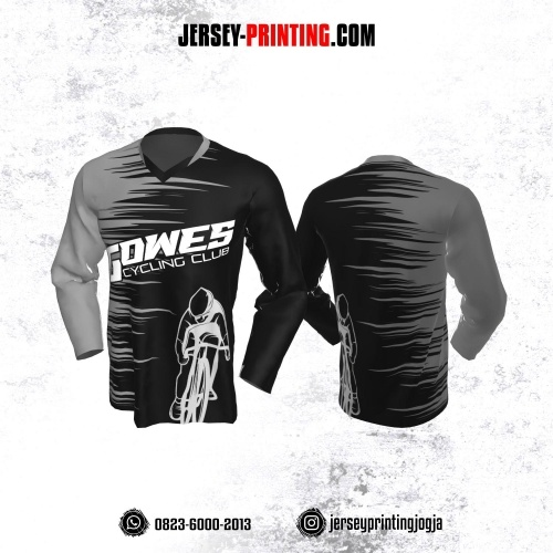 Jersey Gowes Sepeda Hitam Abu Garis Lengan Panjang