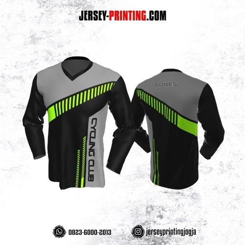 Jersey Gowes Sepeda Hitam Abu Hijau Strip Lengan Panjang