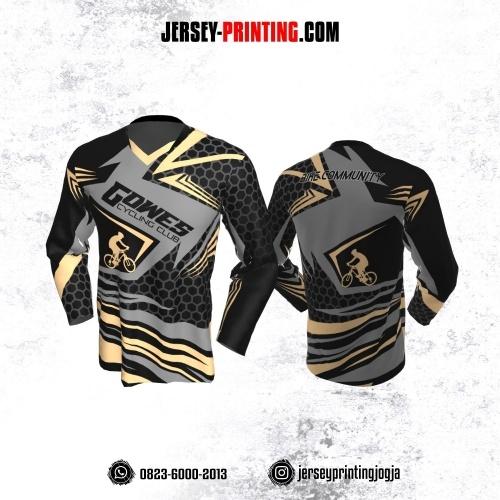 Jersey Gowes Sepeda Hitam Abu Krem Honeycomb Lengan Panjang