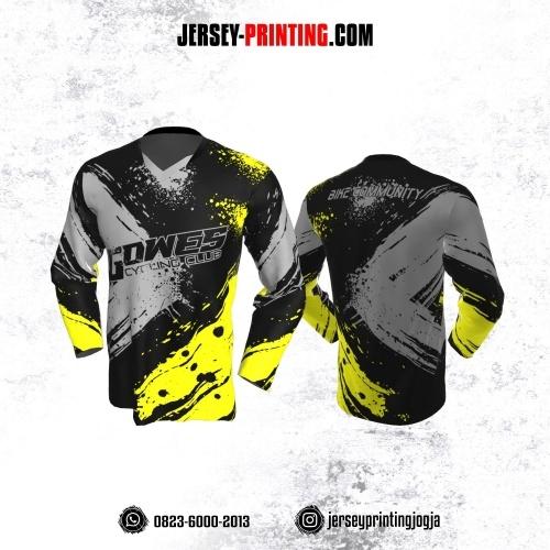 Jersey Gowes Sepeda Hitam Abu Kuning Brush Vector Lengan Panjang