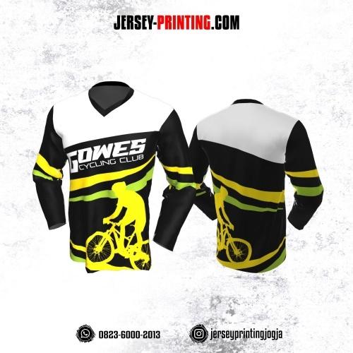 Jersey Gowes Sepeda Hitam Abu Kuning Hijau Lengan Panjang