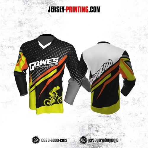 Jersey Gowes Sepeda Hitam Abu Kuning Orange Lengan Panjang