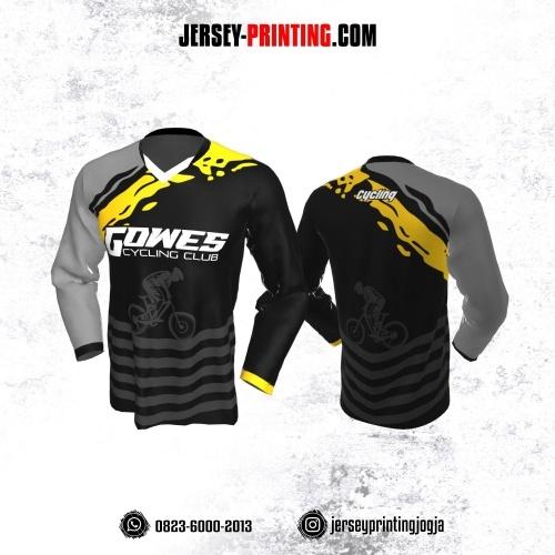 Jersey Gowes Sepeda Hitam Abu Kuning Strip Lengan Panjang
