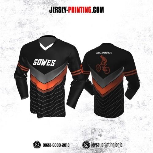 Jersey Gowes Sepeda Hitam Abu Orange Hitam Lengan Panjang