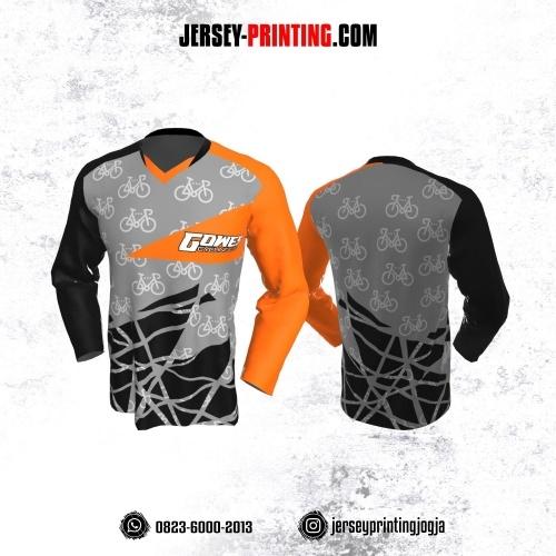 Jersey Gowes Sepeda Hitam Abu Orange Lengan Panjang