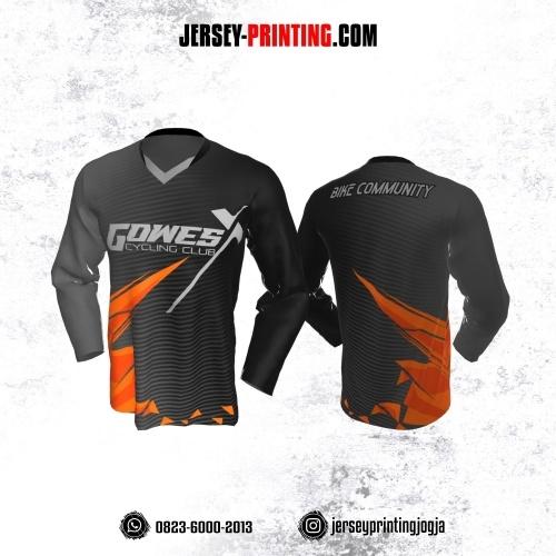 Jersey Gowes Sepeda Hitam Abu Orange Strip Lengan Panjang