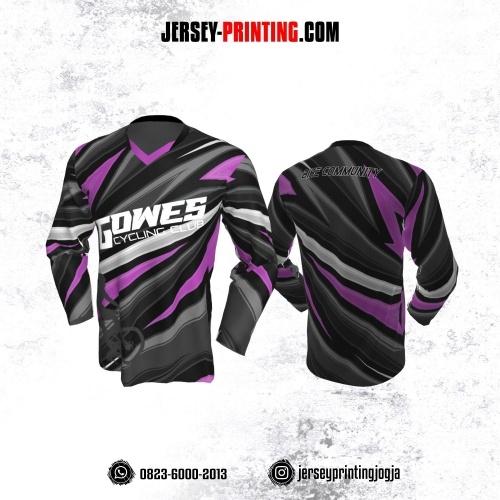 Jersey Gowes Sepeda Hitam Abu Pink Lengan Panjang