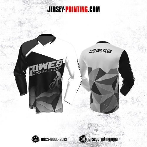 Jersey Gowes Sepeda Hitam Abu Putih Diamond Lengan Panjang