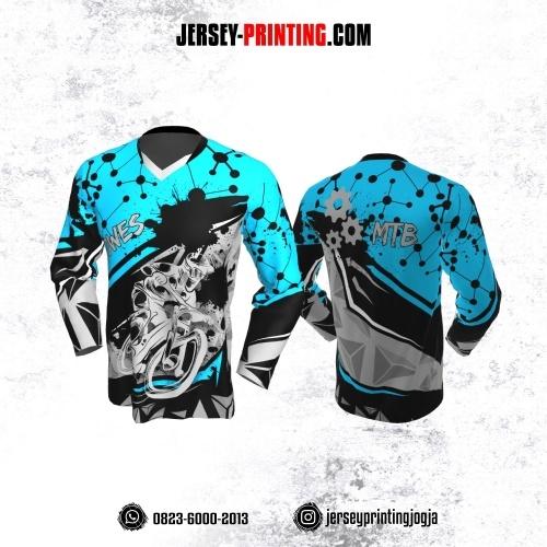 Jersey Gowes Sepeda Hitam Biru Abu Dot Line Lengan Panjang