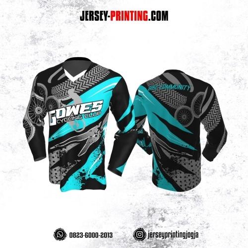 Jersey Gowes Sepeda Hitam Biru Abu Kilat Lengan Panjang