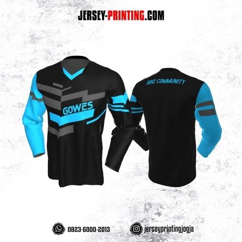 Jersey Gowes Sepeda Hitam Biru Abu Lengan Panjang