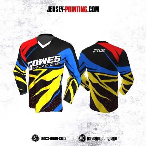 Jersey Gowes Sepeda Hitam Biru kuning Merah Lengan Panjang