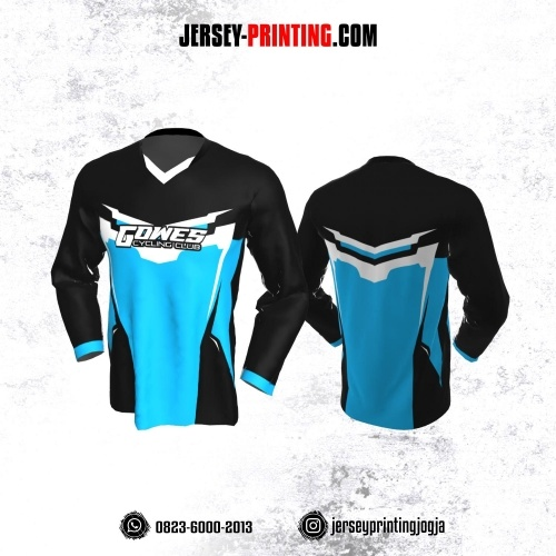 Jersey Gowes Sepeda Hitam Biru Putih Lengan Panjang