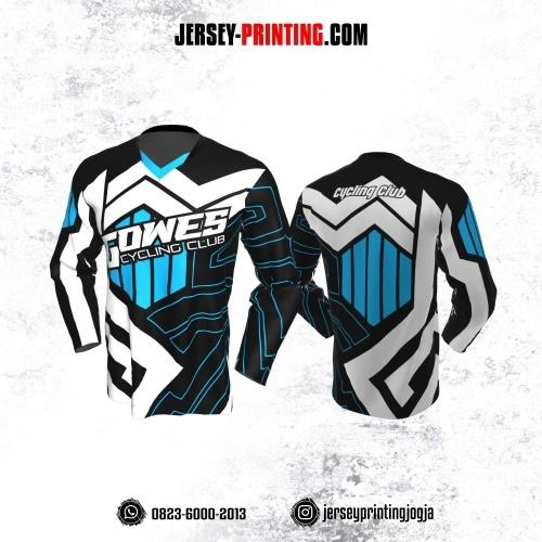 Jersey Gowes Sepeda Hitam Biru Putih Zigzag Lengan Panjang