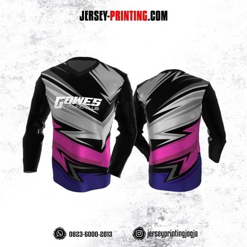 Jersey Gowes Sepeda Hitam Corak Abu-abu Pink Ungu Lengan Panjang