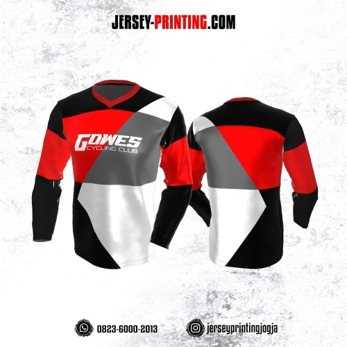 Jersey Gowes Sepeda Hitam Corak Merah Putih Abu-abu Lengan Panjang