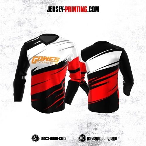 Jersey Gowes Sepeda Hitam Corak Merah Putih Lengan Panjang
