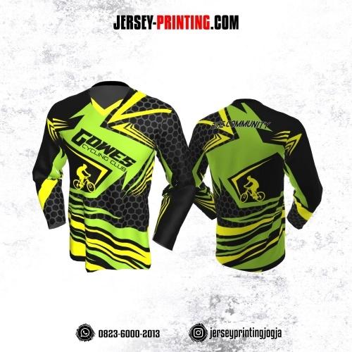 Jersey Gowes Sepeda Hitam Hijau Abu Honeycomb Lengan Panjang