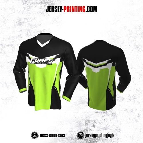 Jersey Gowes Sepeda Hitam Hijau Putih Lengan Panjang