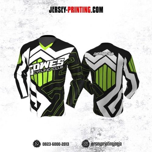 Jersey Gowes Sepeda Hitam Hijau Putih Zigzag Lengan Panjang