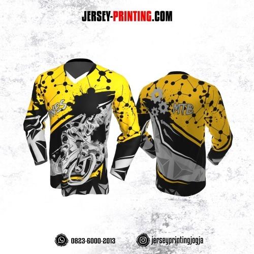 Jersey Gowes Sepeda Hitam Kuning Abu Dot Line Lengan Panjang