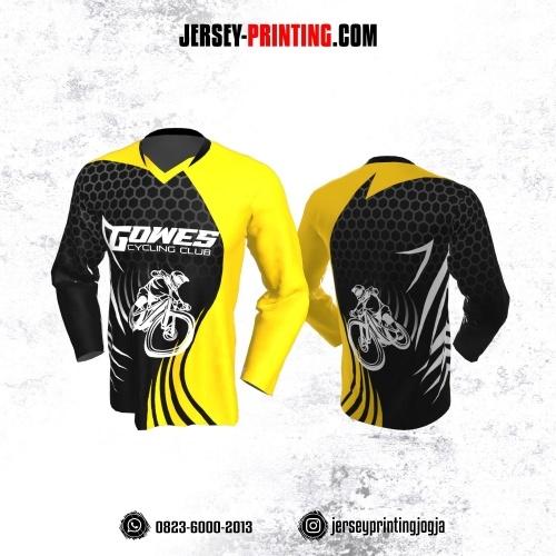 Jersey Gowes Sepeda Hitam Kuning Abu Hexagon Lengan Panjang