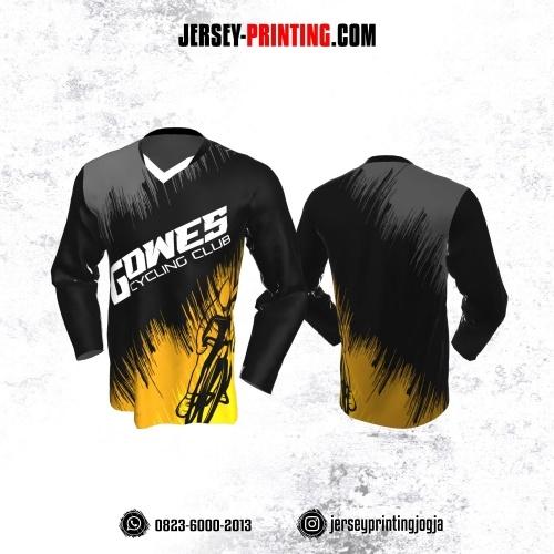 Jersey Gowes Sepeda Hitam Kuning Abu Lengan Panjang