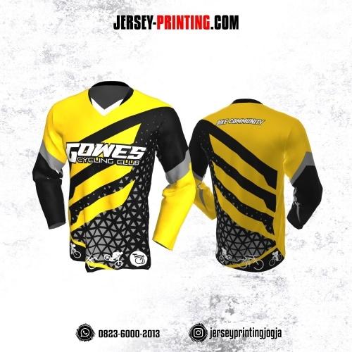 Jersey Gowes Sepeda Hitam Kuning Abu Segitiga Lengan Panjang