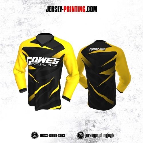 Jersey Gowes Sepeda Hitam Kuning Abu Tua Lengan Panjang