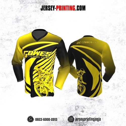 Jersey Gowes Sepeda Hitam Kuning Gradasi Lengan Panjang