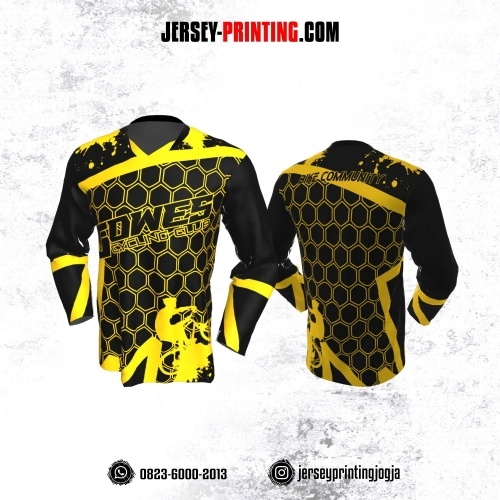 Jersey Gowes Sepeda Hitam Kuning Hexagon Lengan Panjang