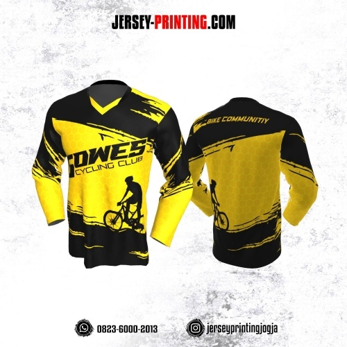 Jersey Gowes Sepeda Hitam Kuning Honeycomb Lengan Panjang