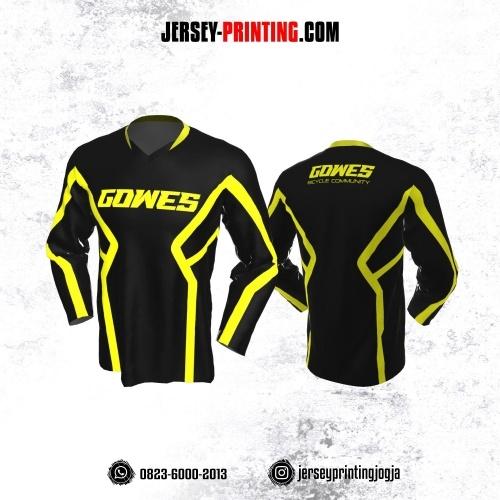 Jersey Gowes Sepeda Hitam Kuning Lengan Panjang