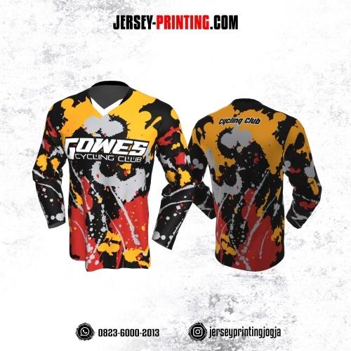 Jersey Gowes Sepeda Hitam Kuning Merah Abu Brush Vector Lengan Panjang
