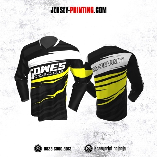 Jersey Gowes Sepeda Hitam Kuning Putih Abu Lengan Panjang