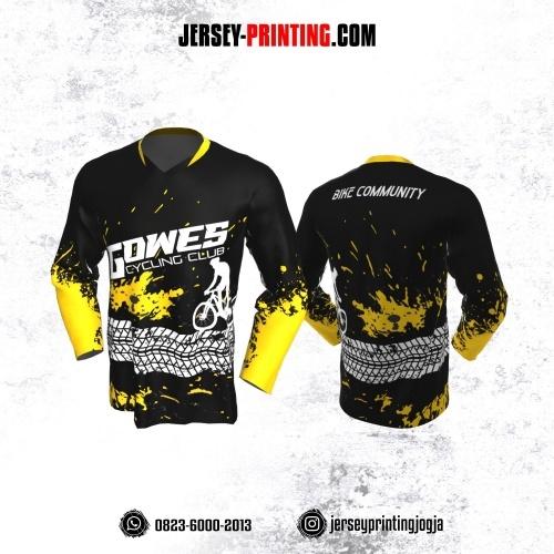 Jersey Gowes Sepeda  Hitam Kuning Putih Bercak Lengan Panjang