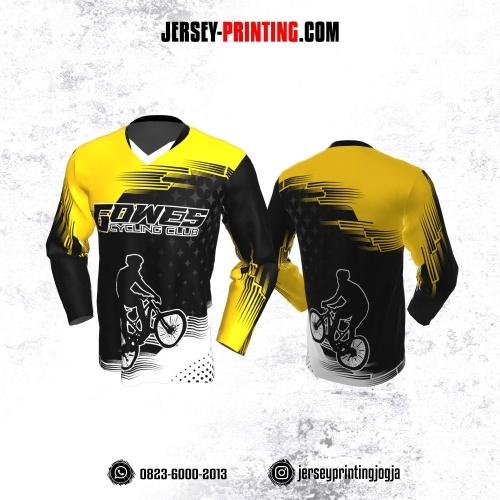 Jersey Gowes Sepeda Hitam Kuning Putih Lengan Panjang
