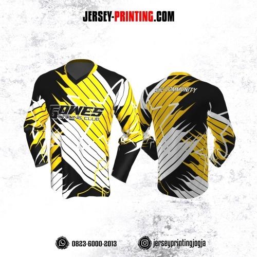 Jersey Gowes Sepeda Hitam Kuning Putih Strip Lengan Panjang