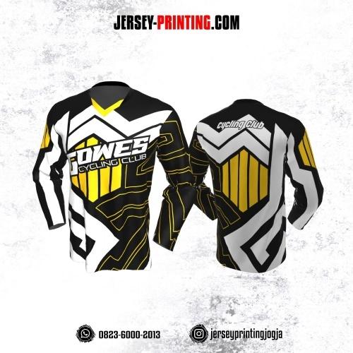 Jersey Gowes Sepeda Hitam Kuning Putih Zigzag Lengan Panjang