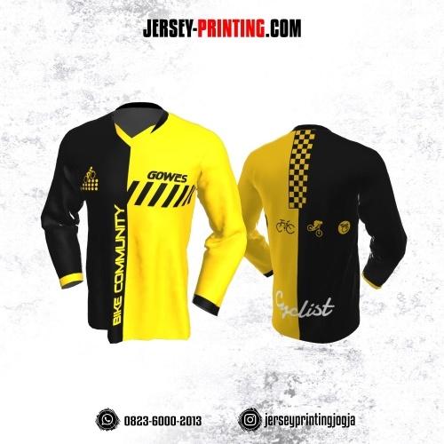 Jersey Gowes Sepeda Hitam Kuning Strip Lengan Panjang