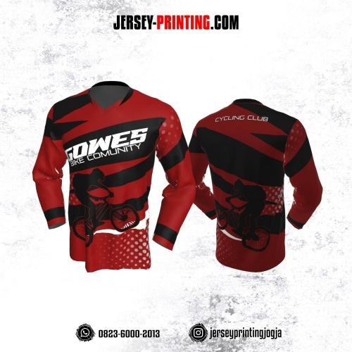 Jersey Gowes Sepeda Hitam Merah Abu Polkadot Lengan Panjang