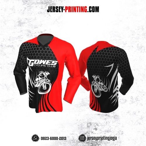 Jersey Gowes Sepeda Hitam  Merah Abu Putih Hexagon Lengan Panjang