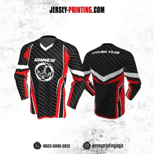 Jersey Gowes Sepeda Hitam Merah Abu Strip Lengan Panjang